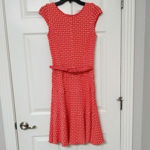 Sharagano Size 4 Orange Fit and Flare Dress